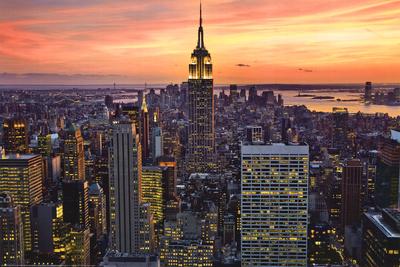 New York City (Empire State Building, Sunset) Art Poster Print Kunstdrucke