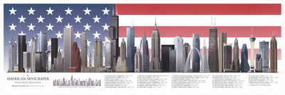 The American Skyscraper Illustrated Panorama Art Print Poster - Flag background Prints