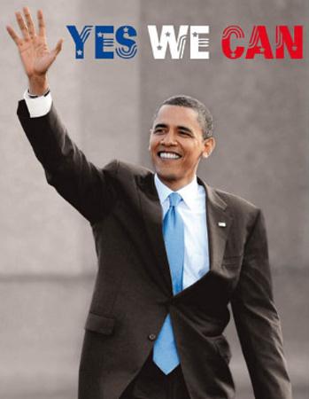 President Barack Obama (Yes We Can, Waving) Art Poster Print Prints