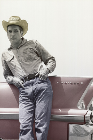 Paul Newman on Cadillac Art Print Poster Prints