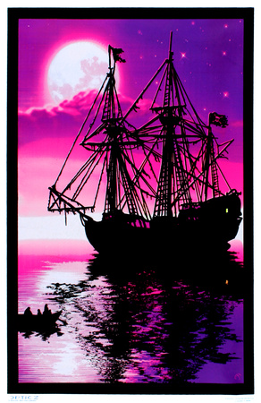 Moonlit Pirate Ghost Ship Blacklight Poster Art Print Posters