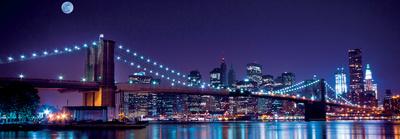 Brooklyn Bridge and Manhattan Skyline with a Full Moon Overhead-New York Umělecká reprodukce