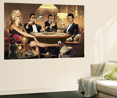 Four of a Kind Marilyn Monroe James Dean Elvis Presley Humphrey Bogart Mural Wallpaper Mural