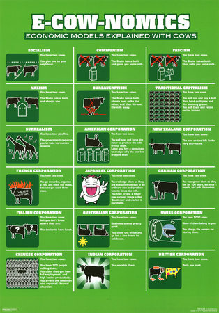 E-Cow-Nomics Economic Models Explained with Cows Funny Poster Print Poster