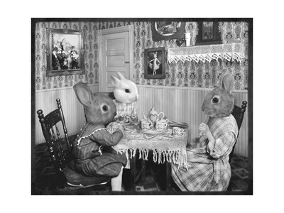 Bunny Tea Party Art by  Grand Ole Bestiary