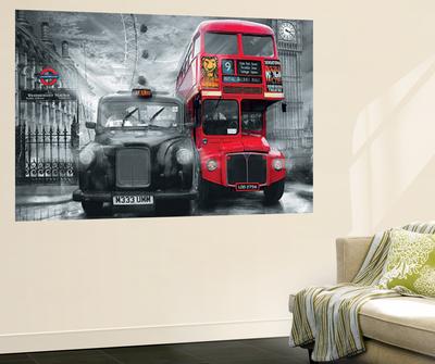 London Taxi and Bus Mural Wallpaper Mural