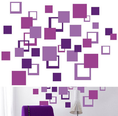 Purple Squares 84 Stickers Wall Decal