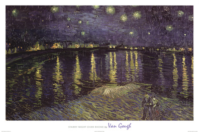 Vincent Van Gogh Starry Night Over the Rhone White Border Art Print Poster Print