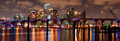 Night View of the Miami Skyline Art by Carsten Reisinger
