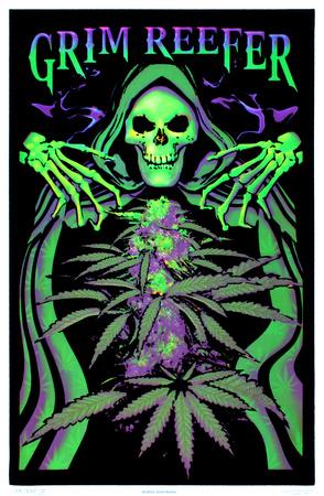 Grim Reefer Marijuana Pot Blacklight Poster Print Poster