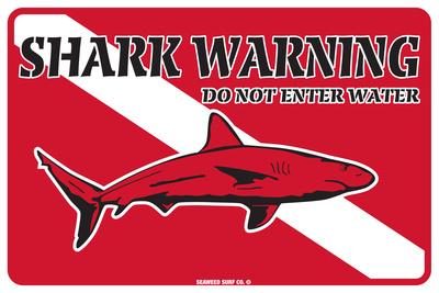 Shark Warning Do Not Enter Water Tin Sign