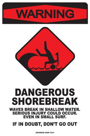 Warning Dangerous Shorebreak Tin Sign