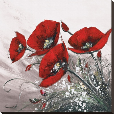 Bouquet De Coquelicots II Stretched Canvas Print by Olivier Tramoni