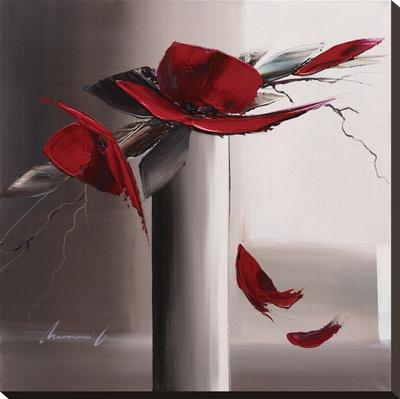 En Rouge Et Gris II Sträckt kanvastryck av Olivier Tramoni
