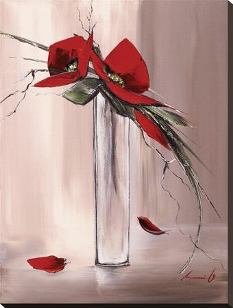 Les Fleurs Rouges II Sträckt kanvastryck av Olivier Tramoni