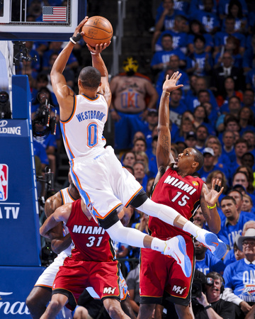 Oklahoma City, OK - June 12: Russell Westbrook and Mario Chalmers Photo by Andrew Bernstein