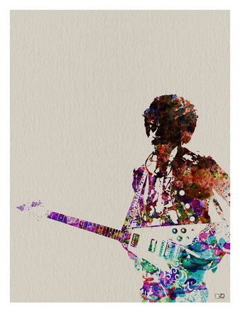 Hendrix With Guitar Watercolor Affiches van  NaxArt