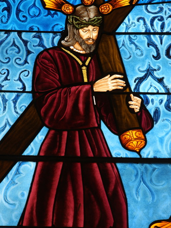 Stained Glass of Jesus Carrying His Cross, San Jeronimo's Church, Madrid, Spain, Europe Photographic Print by  Godong