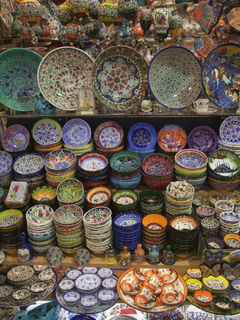 Ceramics on Display at a Shop in the Grand Bazaar, Istanbul, Turkey Photographic Print by Nigel Hicks