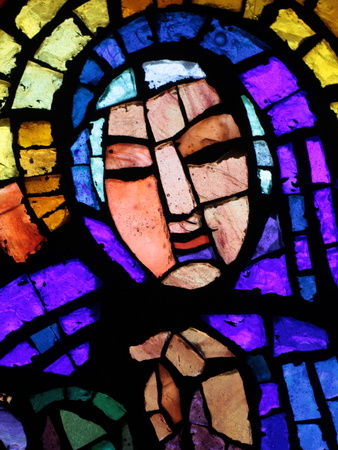 Stained Glass by Alexandre Cingria of the Virgin Mary, Notre-Dame Des Alpes Church, Le Fayet, Haute Photographic Print by  Godong
