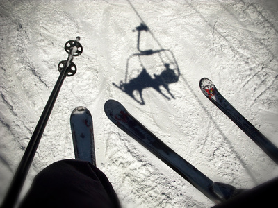 A View from the Ski Lift in Vail Colorado Showing Skis and Poles Fotografisk tryk af Keith Barraclough