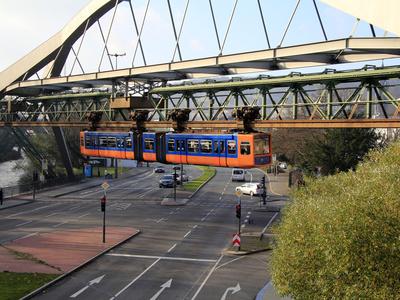 Overhead Railway, Wuppertal, North Rhine-Westphalia, Germany, Europe Photographic Print by Hans-Peter Merten