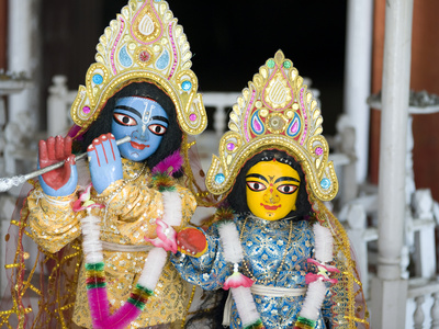 Deities Sri Krishna and Sri Radhika (Radha) in the Lalji Temple, Kalna, West Bengal, India, Asia Photographic Print by Annie Owen