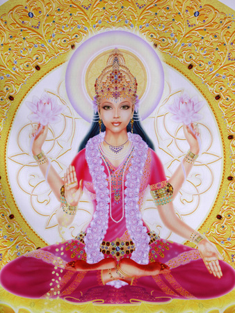 Picture of Lakshmi, Goddess of Wealth and Consort of Lord Vishnu, Sitting Holding Lotus Flowers, Ha Photographic Print by  Godong