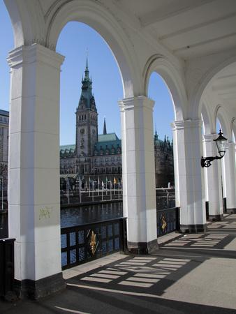 Alsterarkaden and City Hall, Hamburg, Germany, Europe Photographic Print by Hans-Peter Merten