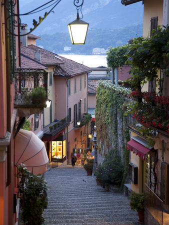 Shopping Street at Dusk, Bellagio, Lake Como, Lombardy, Italy, Europe Photographic Print by Frank Fell