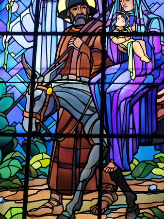 Stained Glass by Raphael Lardeur of the Flight into Egypt, St. Joseph De Chedde Church, Haute-Savoi Photographic Print by  Godong