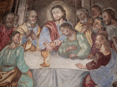 Last Supper, Our Lady of Assumption Church, Cordon, Haute-Savoie, France, Europe Photographic Print by  Godong
