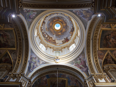 Interior of Dome, St. Paul's Cathedral, Mdina, Malta, Europe Photographic Print by Nick Servian