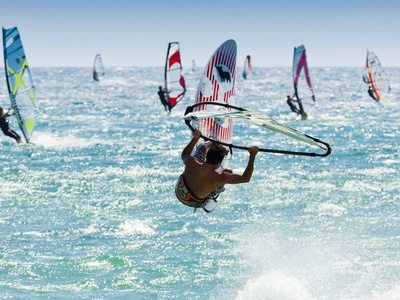 Windsurfer, Jump, Bolonia, Near Tarifa, Andalucia, Spain, Europe Photographic Print by Giles Bracher