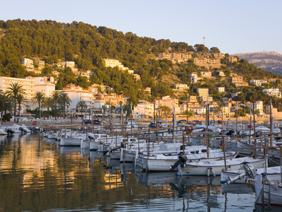 View across the Harbour at Sunset, Port De Soller, Mallorca, Balearic Islands, Spain, Mediterranean Photographic Print by Ruth Tomlinson