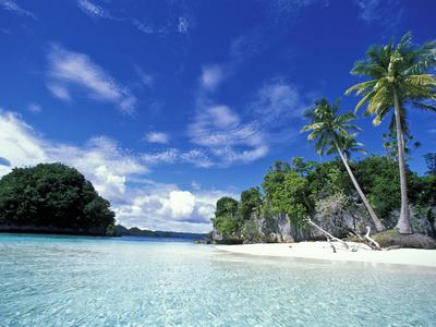 Bay of Honeymoon Island, World Heritage Site, Rock Islands, Palau Fotografisk tryk af Stuart Westmoreland