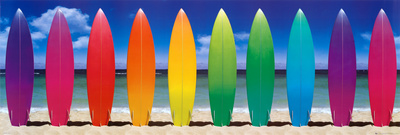 row of colorful surfboards