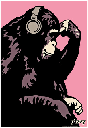 Steez Monkey Thinker - Pink Art Poster Print Prints