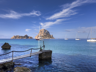 Spain, Balearic Islands, Ibiza, Cala D'Hort Beach Fotoprint av Michele Falzone
