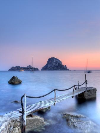 Spain, Balearic Islands, Ibiza, Cala D'Hort Beach and Es Vedra Island Photographic Print by Michele Falzone