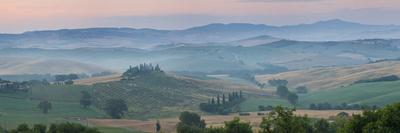 Farmhouse in Valley at Daybreak, Val D' Orcia, Tuscany, Italy Photographic Print by Peter Adams