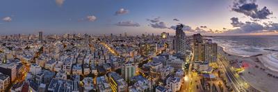 Israel, Tel Aviv, Elevated Dusk View of Beachfront Hotel Photographic Print by Gavin Hellier