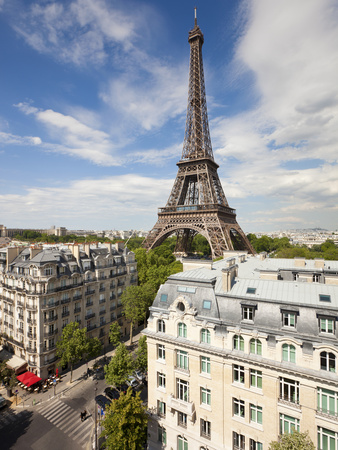 France, Paris, Eiffel Tower, View over Rooftops Photographic Print by Gavin Hellier