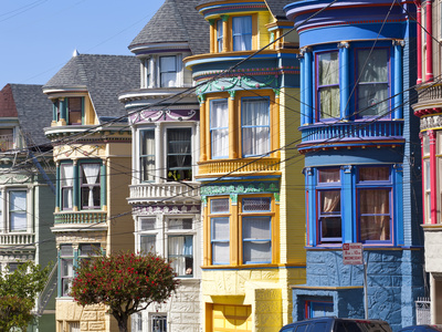 Colourfully Painted Victorian Houses in the Haight-Ashbury District of San Francisco, California, U Photographic Print by Gavin Hellier