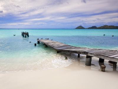 Venezuela, Archipelago Los Roques National Park, Pier on Madrisque Island Photographic Print by Jane Sweeney