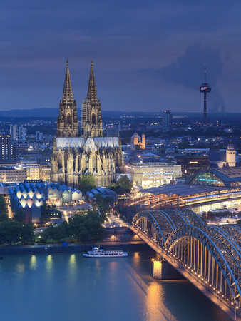 Germany, North Rhine Westphalia, Cologne (Koln), Hohenzoller Bridge over River Rhine and Cathedral Photographic Print by Michele Falzone
