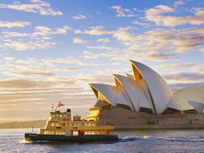 Australia, New South Wales, Sydney, Sydney Opera House, Boat Infront of Opera House Photographic Print by Shaun Egan