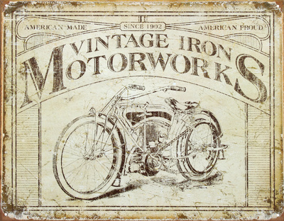Vintage Iron Motorworks Tin Sign