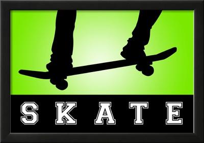 Skateboarding Green Sports Poster Print Poster