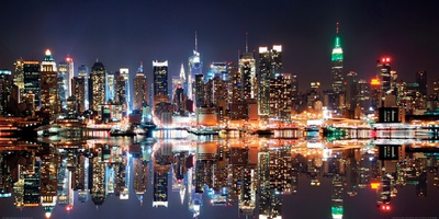New York City Skyline at Night Poster af Deng Songquan